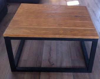 Stained medium oak wood coffee table