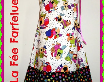 Dress designer cotton DOGGY 2 to 10 years