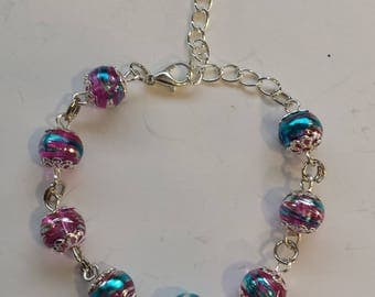 PINK MULTI COLOR DEGRADED GLASS PEARL BRACELET