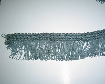Turquoise stripe with fringe 6cm wide
