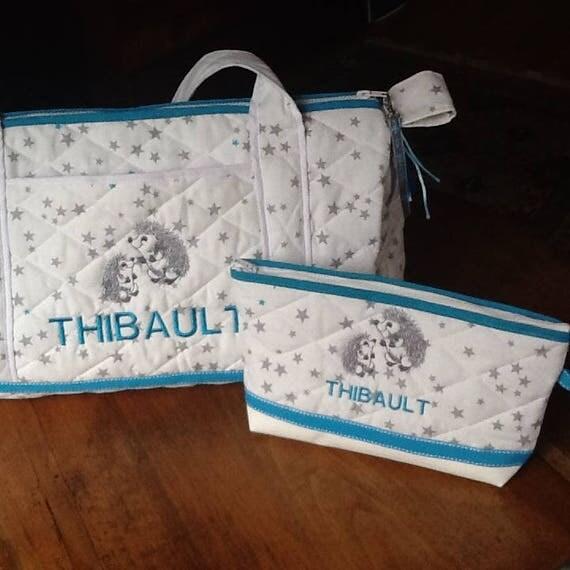 Sac langer b b ou enfant en tissu matelass blanc toiles - Tissu matelasse pour bebe ...