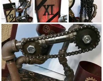 """Iron Pipe Lamp, """"Eleven"""" for Musicians and music lovers! Bluetooth speaker attached."""