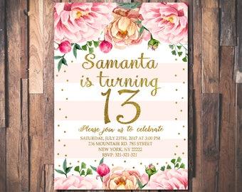 13th Birthday Invitation, Teen Birthday Party Invite, Floral Girls Birthday Party, Pink and Gold Glitter Printable Invitation Digital 1084
