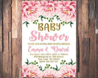 Baby Shower Invitation, Floral Baby Shower Invitation, Blush Pink Baby Shower Invite Printable Invitation 1092