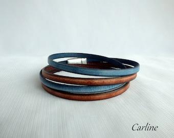Leather man leather faded Vintage blue Brown bracelet