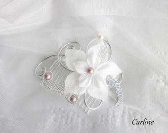 Chloe - Light ivory silk flowers wedding hair comb, old pink