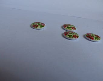 Flowers on yellow diy 18mm wooden buttons