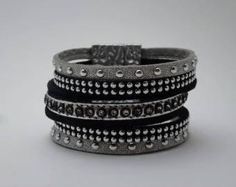 black and grey suede Cuff Bracelet