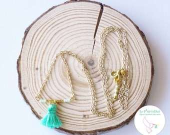 """Necklace """"Laura"""" short watery green and gold Myuki beads"""