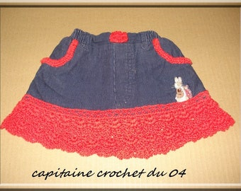 baby skirt recycled from a blue velvet with red lace pants 3 months girl, girl