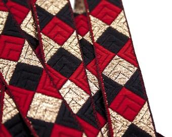 Red Black Gold 2.1 cm x 1 m square Jacquard Ribbon