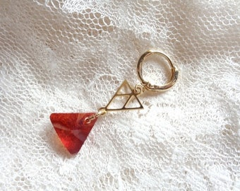 Leverback sleepers and minimalist triangular pendants, Indian Red Swarovski element, triangle connector gold plated