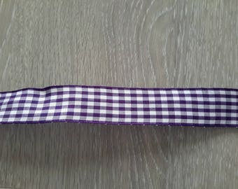 Purple and white gingham Ribbon sold by the yard