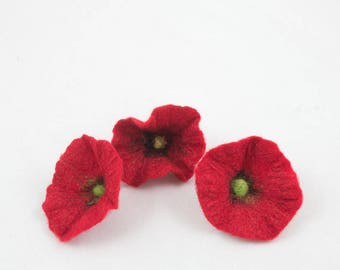 3pcs-Set of 3 small hand felted flowers-Wool and Silk-Red