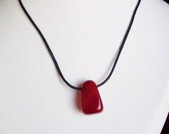 Orange carnelian natural stone necklace 45 cm
