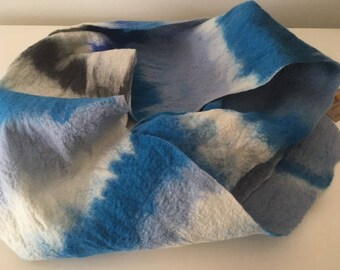 Blue & white felt scarf