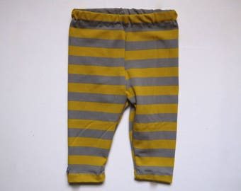 Leggings striped mustard yellow and grey 6 months, 12-18 month organic cotton Jersey