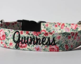 Rose Garden Flower Hand-made Pet/Dog Collar with Heavy Duty Metal Hardware and Optional Personalized Embroidery