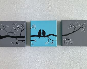 Custom Handmade Panel Canvas (Birds)
