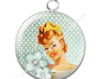 Vintage enjoy pinup girl resin cabochon pendant 9