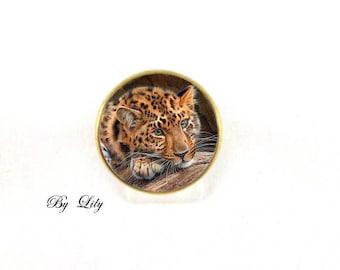 "Ring ""Feline Leopard fur Fawn"", retro image cabochon!"
