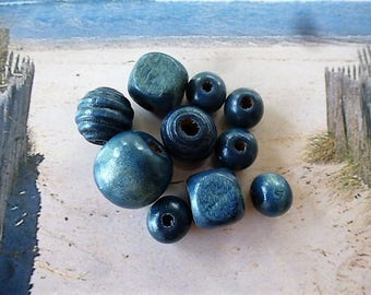 teal wooden beads sizes and shapes of various sets of 10