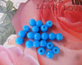 20 vintage round 6 mm glass beads tell briare enamel light blue