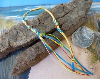 Indian blue braided yarn yellow and multicolor Friendship Bracelet