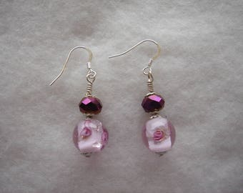 Earrings long Crystal beads and roses on 925 Silver hooks