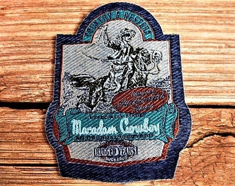 applique Macadam country cowboy and western rider horse patch coat vintage sewing craft or sewing customisation