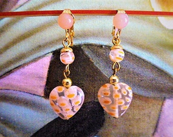 millefiori bead and earrings mounting heart hinged on small gold clip and pink bead 4 cm for women and girls