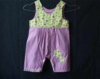 overalls short summer girl pink and green