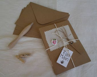 Set of four cards + envelopes kraft cardstock