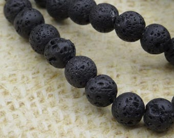 50 8mm round beads natural black lava stone
