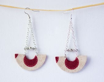 Earrings half circles in beige fabric with big red polka dots