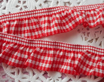 Red and white gingham Ribbon gathered by elastic for sewing or decoration 2.00 mm diameter