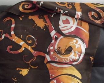 "Autumn colors silk scarf ""tree of love"""