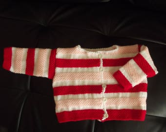 Open front striped wool vest red white pink 3/6 months