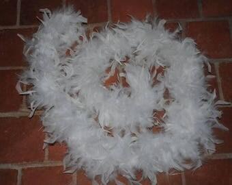 White color feather boa wreath
