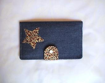 Dark blue jean and leopard  fabric wallet