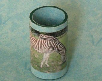Vase, pencil roll cardboard holder Zebra