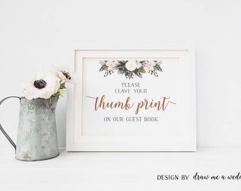 Thumb Print , White Winter Wedding Sign , Finger Print Tree , White Winter Thumbprint Guestbook , Printable