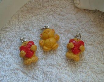 PENDENTIFS OURSONS  coeurs rouges lot de 3 unités pour colliers bracelets ou boucles d'oreilles