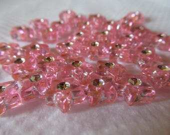 set of 38 beads 9 mm x 9 mm silver rhinestone small pink stars bead spacer for all jewelry creations