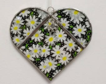 Stained Glass Heart Daisies ~ Large 5.5  Inches with Flower Charm and Customized Box