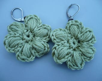 earrings, lime green cotton crochet flower