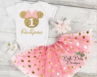 Glitter Gold 1st Birthday Minnie Mouse Outfit | Personalized 1st Birthday Minnie Mouse Vinyl Design