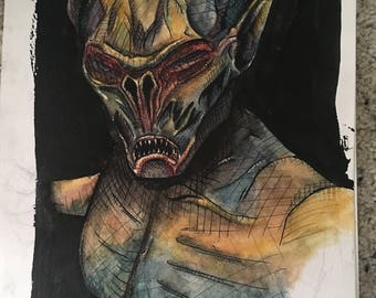 Matte Print of Watercolor, Falmer: Creature of Skyrim