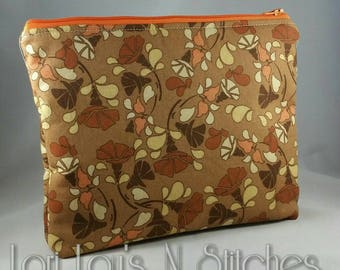Zipper Pouch Brown and Orange Floral 7x9