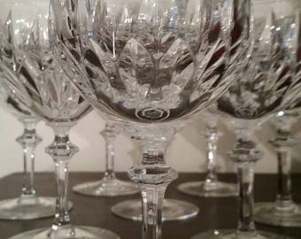 8 Gorham (cut) crystal large wine glasses